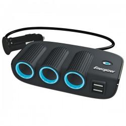 ENERGIZER Car Lighter Triple Socket Adaptor and Twin USB 12V-20