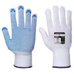 Nylon Polka Dot Gloves White/Blue Large Pack of 12-20