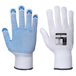 Nylon Polka Dot Gloves White/Blue X Large Pack of 12-20