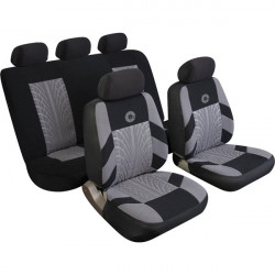 Car Seat Cover Precision Set Black/Grey-10