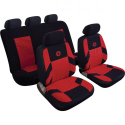 Car Seat Cover Precision Set Black/Red-10