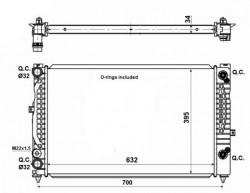 Radiator, engine cooling for Audi, Skoda, VW DENSO DRM02030-11