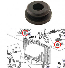 1 piece Radiator Rubber Mount FEBEST HSB-064-11