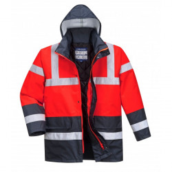 Hi-Vis Contrast Traffic Jacket Red/Navy Small-10